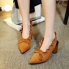 Womens Slingbacks Block High Heel Slip on Lace up Pointy toe Suede Party Shoes #