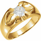 1/2ct Solitaire Diamond Mens Wedding Ring 14k Yellow Gold High Polished Round