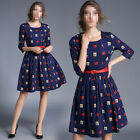 Fashion Womens 3/4 Sleeve High-end Vintage Lips Printed Red Belt Mid Dress
