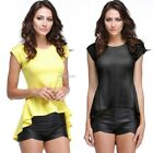 Women's Vintage Lace Peplum Hem Slim Casual Party Tops T-shirt B20E