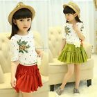 Fashion Children Kids Girl's Wear Casual 2pcs Dress Set Short Sleeve B20E