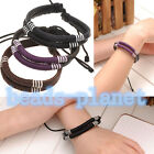 Fashion Women Men's Cowhide Handmade Braided Wrap Rope Bracelet Lucky Wristband