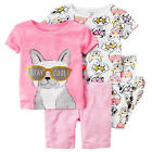 """Carter's 4 Piece Pink/White """"Stay Cool"""" Metalic Dog Printed Tops, Striped Short"""