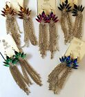"""Crystal Dangle Fringe Chain Earrings 4.2"""" Choose Your Colors"""