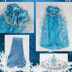 Princess Girl Queen Elsa Cosplay Costume Party Fancy Dress 3-10Year