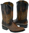 Mens Leather Crocodile Alligator Print Western Cowboy Boots Square Toe