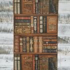 bookshelf wallpaper - Traditional Trompe l'oiel Red Blue Brown Green Tan Library Book Shelf Wallpaper