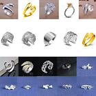 20Types Women 925 Silver Plated Adjustable Open Band Thumb Rings Statement Gift