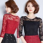 Womens Bllouse Ladies Autumn Lace Slim Long Sleeve Shirt Tops lovely Charming