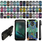 "For Motorola Moto G4 Play 5"" XT1609 Hybrid Heavy Duty Kickstand Case Cover + Pen"