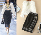 2017 runway Occident lace top+garment button side vents skirt fashion lady suits