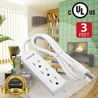 Внешний вид - 3FT 3 Outlet Power Strip Extension Cord 16AWG 3 Prong Grounded AC Plug UL Listed