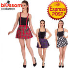 RKN42 Banned Pinafore Short Mini Skirt Checked Tartan Retro Rock Emo Punk Gothic