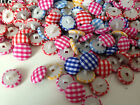 GINGHAM FABRIC COVERED BUTTONS - 14mm - Red, Fuchsia, Yellow, Blue & Mixed NEW!!