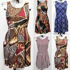 NEW LADIES SKATER DRESS WOMENS PLEATED SKIRT LOOK DRESSES CHAIN CHECK BELT TOPS