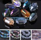 10pcs 16X10mm Charms Faceted Oval Glass Crystal Findings Loose Spacer Beads
