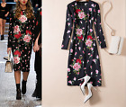17 Occident runway hot sale Modern Vintage embroidery Printed long sleeve dress