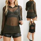Women Long Sleeve Pure See-through Sheer Mesh Hoodies Shirt Tee Blouse Top NW
