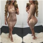 Women's Mini Bandage Bodycon Party Cocktail Dress Long Sleeve Backless Club