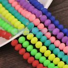 50pcs 8X6mm Coated Glass Rubber Like Faceted Rondelle Loose Spacer Beads