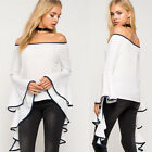 Hot Ladies' Fashion White Loose Tops Off Shoulder Casual Trumpet Sleeve Shirt