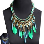 Yooocart Statement Necklace Women's Leaf Rope Chain Feather Chunky Bib Pendant