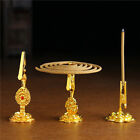 THREE AS 1 SET! TIBETAN BLESSED GILT COPPER INCENSE HOLDERS FOR COILS OR STICKS