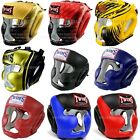 Twins Muay Thai Boxing Head Guard Full Face Solid Fancy Leather Training