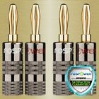 Dual Screw Closed Type 24K Gold Plated Speaker Wire Banana Plugs Jack Connectors