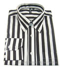 CANDY STRIPE SHIRT by RELCO - BLACK/WHITE - 60S VINTAGE DESIGN -MOD / SKIN / SKA