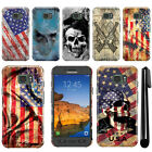 For Samsung Galaxy S7 Active G891 Flag Skull HARD Back Case Phone Cover + Pen