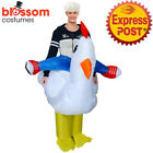 K354 Riding Chicken Hen Adult Fan Inflatable Fancy Costume Suit Animal Carry On