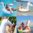 Inflatable Giant Rainbow Unicorn Shaped Pool Float Ring Raft Swimming Water New