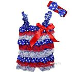 Baby Blue Stars 4th Of July Petti Lace Satin Romper & Headband Outfit