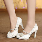Royal Floral Bridal Shoes Women Wedding High Heels Lady Pearl Party New Pumps