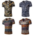 Mens Fashion Casual V Neck All Over Print Short Sleeve Tee Tops T-shirt Holiday