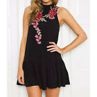 Floral Embroidery Stand-up Collar Sleeveless Backless Halter Ruffles Dress New