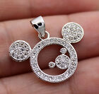 18K White Gold Filled - Mickey Mouse Topaz Zircon Hollow Party Pendant 2 Color image