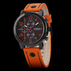 CURREN Herrenuhr Lederuhr Armbanduhr Sportuhr Analog Leder Quartzuhr Orange/Blau