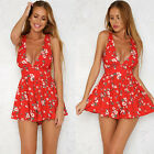 Floral Print Women's V Neck Playsuit Summer Beach Jumpsuit Mini Dress Shorts