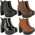 Womens Ladies Chunky Platforms Chelsea Ankle Boots Block Heels Shoes Size New