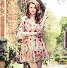 Womens Summer Loose Flounce Sleeve Embroidery Floral Dress Shirt Skirt Cardigan