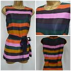 NEW DEBENHAMS JASPER CONRAN TUNIC BLOUSE TOP NAVY ORANGE PINK STRIPED SZ 8 - 18