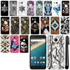 For LG Google Nexus 5X Butterfly Design HARD Back Case Phone Cover + Pen