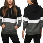 Women Casual Pullover Patchwork Hooded Hoodie Sweatshirt With Pockets N98B