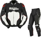 Furygan Raptor Leather Motorcycle Jacket & Trousers Black White Red Kit Bundle