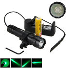 Tactical 5000LM 501B Q5 Green LED Hunting Flashlight Rifle Mount Light 18650