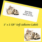 "Personalized Printed Address Labels CAT KITTEN Self-Adhesive 1"" x 2 5/8"""