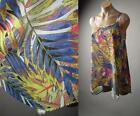Colorful Painterly Tropical Island Leaf Print Swing Cami Top 228 mv Blouse S M L