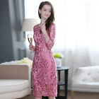 New Elegant Womens 3/4 Sleeve High-end Exquisite Embroideried Cocktail Dress